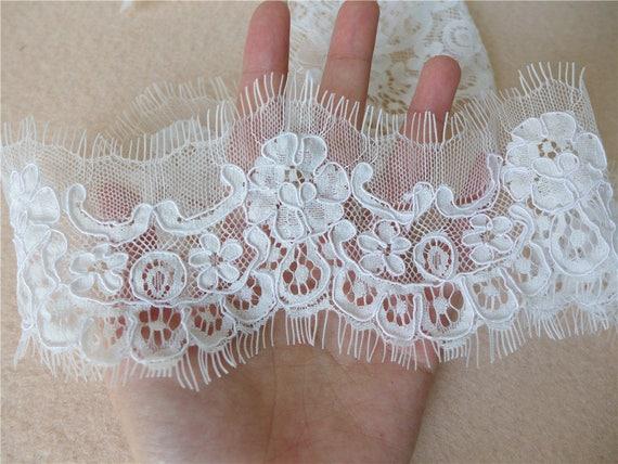 Alencon Lace Trim With Corded Scallop Lace Fabric Trim Bridal Lace Mesh Lace Dress Lace New Arrival