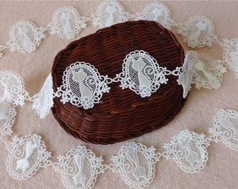 Venice/Venise Lace Fabric Trim, Cat Lace Applique Trim, Lovely Lace Fabric With Floral, Lace Ribbon Trim
