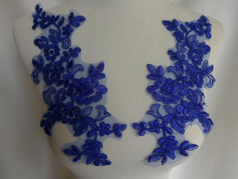 Piccola luce avorio o blu floreale con perline pizzo applique