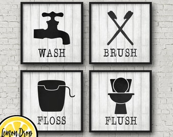 Farmhouse Bathroom, Rustic Decor, Black and White, Bathroom Decor, Bathroom Decor, Rustic Bathroom, Kids Bathroom, Guest Bathroom, flush