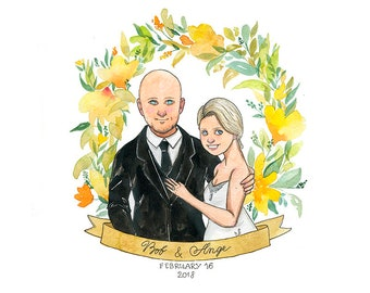 2 Persons Save The Date (half-height) ~Custom Digital Printable Watercolor Portrait, Wedding Present, Commission, Invitations, Save The Date