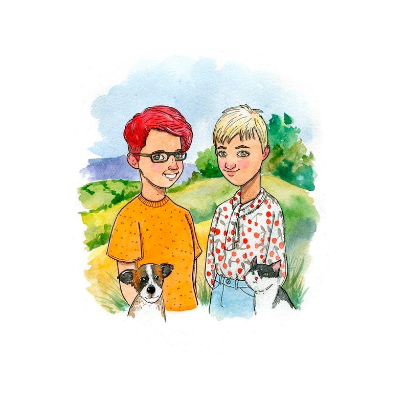 2 Person Best Friends 1 2 Pets Portrait Custom Digital Etsy