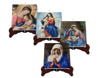 Religious coasters set of four - Virgin Mary paintings by Sassoferrato - Virgin Mary art - Virgin Mary coasters - catholic gifts devotional