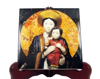 Our Lady of La Vang - religious icon on ceramic tile - religious art - Virgin of La Vang - catholic wall art - catholic wall plaque