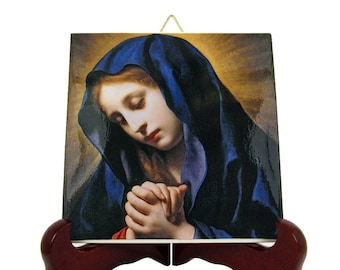 Catholic art - Virgin of the Annunciation - christian icon on tile - Virgin Mary art - religious painting by Carlo Dolci - Catholic gifts