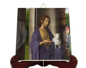 Saint John the Baptist with the Lamb of God - icon on tile - St John Baptist - saints serie - handmade in Italy