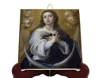 Catholic gifts - The Immaculate Conception - icon on ceramic tile inspired by Murillo - religious art - Virgin Mary art - Virgin Mary icon