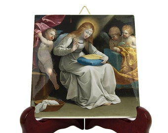 Religious gifts - The Virgin sewing with Angels - Religious icon on tile - catholic art - religious art - Virgin Mary art - sacred art