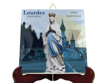 Our Lady of Lourdes 160th anniversary - collectible tile - religious gifts - catholic gifts - Virgin of Lourdes - Limited and numbered edit
