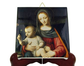 Religious art - Madonna of carnation - catholic icon on ceramic tile - italian art - Virgin Mary - catholic plaque - catholic wall hanging