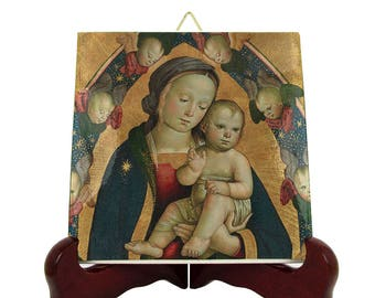 Religious art - Virgin and Child in a Mandorla with Cherubim - religious icon on ceramic tile - italian art - art from Italy Virgin Mary art