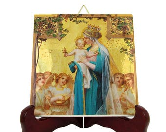 Christian catholic art - Virgin Mary and Jesus Child - religious icon on tile - Christian icon art - Holy Mary - Mary Mother of Jesus