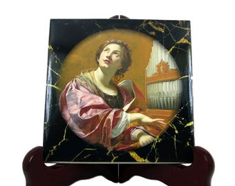 St Cecilia - catholic saints - catholic icon on ceramic tile - Saint Cecilia - St Cecilia icon - religious gift - patron saint musicians