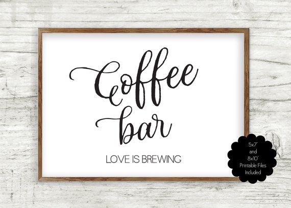 Favours Favor Signs bridal shower sign coffee here Love is sweet coffee sign take a treat coffee bar Sign INSTANT DOWNLOAD