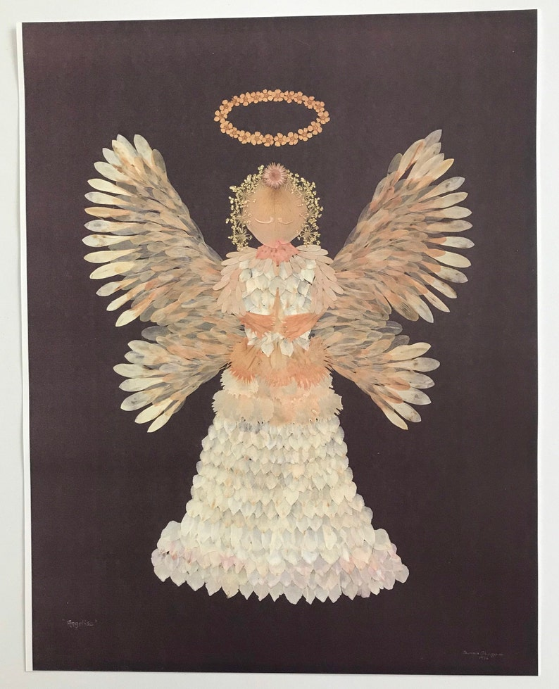Angel print reproduced from my original work in pressed flowers Petals and pieces from eight different flowers are included. 11 x 14