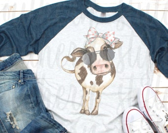 fedd45b1 Watercolor cow with bow and sunglasses Shirt, Cow Shirt, Cute Cow Shirt,  Farm Girl Shirt, Womens Cow Graphic Tee, 17