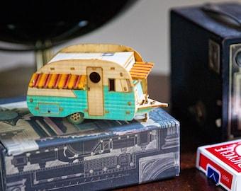 Vintage Camper Mini Wooden Model Christmas Ornament, Desktop playset, snaps together. 3D puzzle trailer kit that makes a great gift for men!