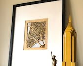 City Street Maps 8x10 Wooden Cutouts. Show your favorite Towns and Neighborhoods like: New York, Seattle, Nashville, Chicago plus Many More!