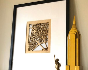 Your Custom Street Map Wooden Cutout of your favorite Town & Neighborhood. Map centered over your exact crossroads or even GPS coordinates!