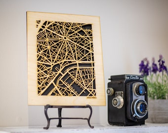50+ Cities of Europe, Wooden Street Maps 8x10 Cutouts. Your favorite Villages and Neighborhoods like: London, Paris, Berlin, plus Many More!