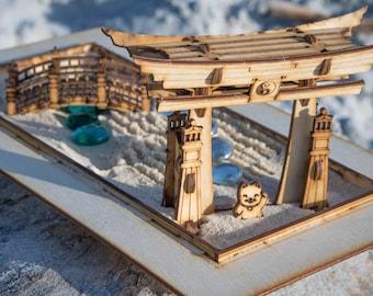 Zen Garden - Japanese Meditation Kit. Playset of 6 pieces, plus the sandbox option. Shinto Gate, Rake, Bridge, Lantern, and Lucky Kitty too!