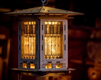 Bird Feeder, Craftsman Prairie Style Wooden 3D puzzle kit and lantern. DIY model you build! Mason Jar w/ Seed Not Included.