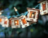 Patio String Lights. Electrolites - Craftsman Style Bungalows. DIY Unique wooden 3D lighting. Cafe String Lights for Indoor/Outdoor Parties