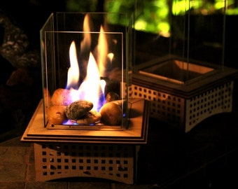 Tabletop Glass Fireplace, Gifts for him! 2 sizes: Warm up your patio & heart with this lantern, add some light, and even roast S'mores, too!