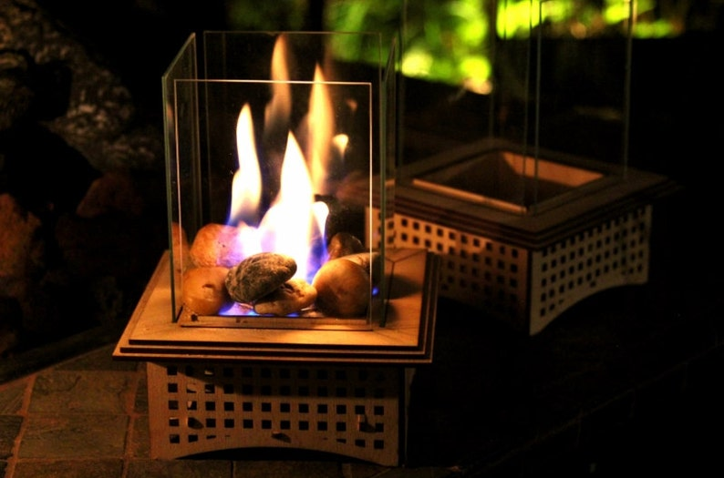 Tabletop Glass Fireplace Gifts for him 2 sizes: Warm up your Deluxe Box w/extras