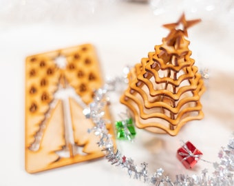 Christmas Tree Kit. Miniature Wooden desktop tree made from a single punch card. 3D puzzle for the home or office. Decoration contest, too!