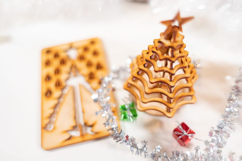 Christmas Tree Kit Miniature Wooden Desktop Tree Made From A Single Punch Card 3d Puzzle For The Home Or Office Decoration Contest Too