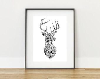 Inspirational words {Stag head} - Digital Print