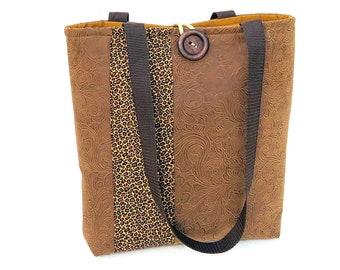 Brown Handbag, Animal print Vegan Leather Tote Bag, Cute Purse, Cloth Handbags, Best Handbags, Fall Bags and Purses, Fashion Bags