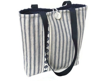 Cloth handbags, Ticking stripe padded quilted tote bag, Cute purse, Fashion bags, Fabric handbags, Ladies hand bag, Best handbags