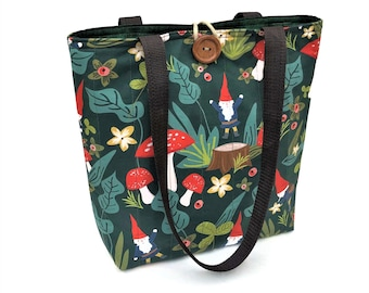 Quilted tote bag with gnomes and mushrooms, Cotton bags, Fall bags and purses, Cloth handbags, Gift for knitters, Fashion bags, Gnome gifts