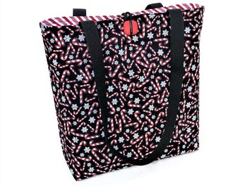 Christmas Tote Bag, Candy Cane Bag, Cloth Handbags, Padded Quilted Tote Bag, Cute Purse, Christmas Fashion Bag, Knitting Tote Christmas gift