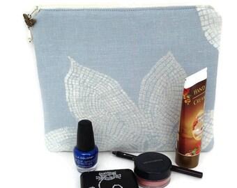 Large cosmetic bag, Zipper pouch, Blue purse, Fabric clutch bag, Toiletry bag, Travel cosmetic bag, Cute makeup bag, makeup bag organizer