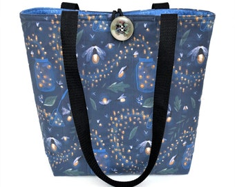 Fabric handbags with fireflies, Fall bags and purses, Quilted tote bag, Fashion bags, Cute purse, Cotton bags, Best friend gifts