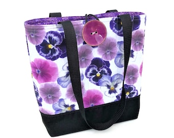 Cloth handbags with Flowers, Fall bags and purses, Padded quilted tote bag, Gift for knitter, Fabric handbags, Ladies hand bag, Purple purse