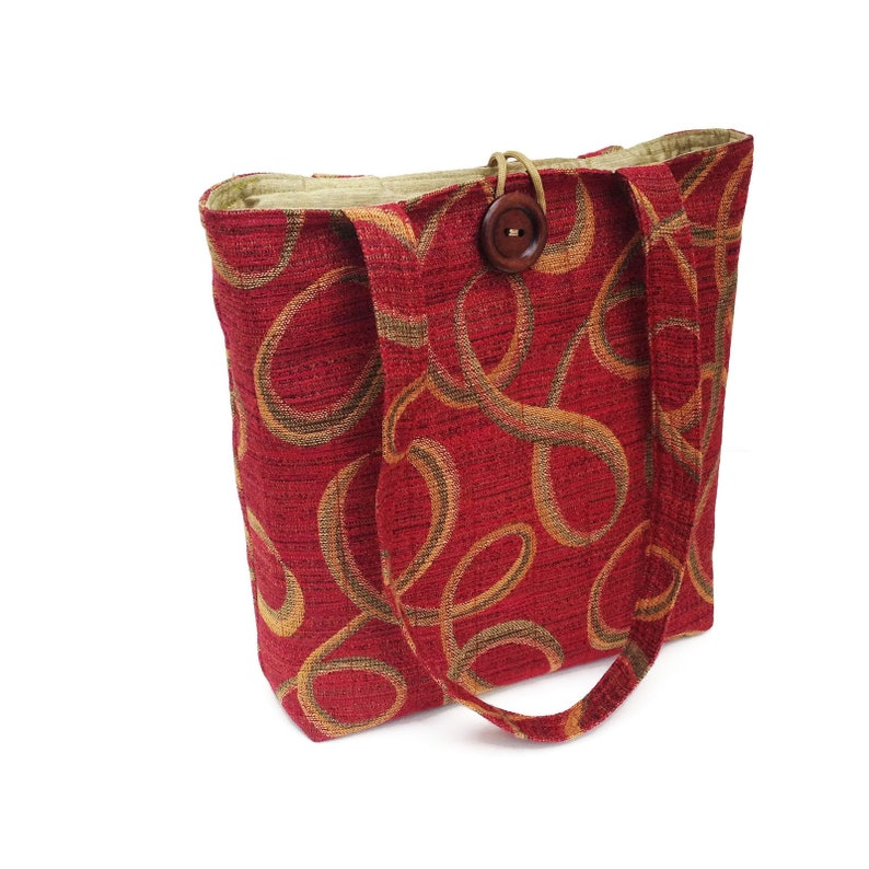 Red fabric handbags Quilted tote bag Shoulder