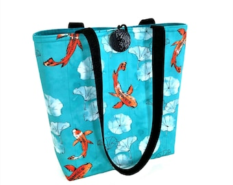 Quilted tote bag with Koi fish, Fall bags purses, Blue cloth handbags, Fabric handbags, Ladies hand bag, Gift for knitters, Cloth handbags