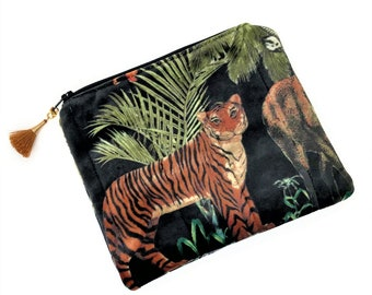 Small cosmetic bag, Tiger purse, Velvet evening bag, Pouch bag, Cute purse, Padded quilted purse, Zipper pouch makeup bag, Gift for her