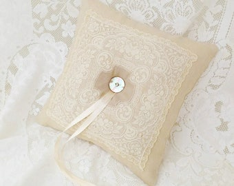Wedding ring pillow, Linen and Lace, Antique lace cushion, Ring bearer pillow, Wedding accessories, Heirloom keepsake, Bridal gifts