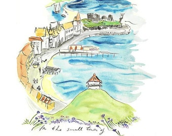"Signed and Titled Fine Art Print ""In the Small Town of Aberystwyth..."" from an original artwork by Sian Bowman"
