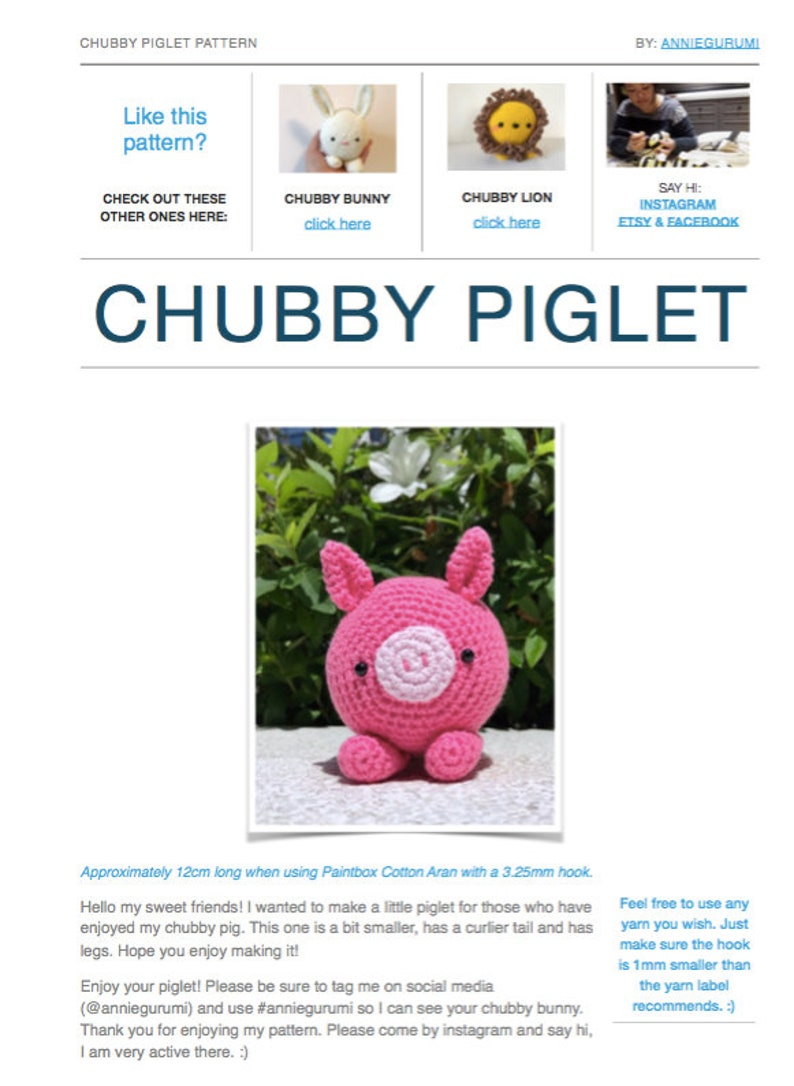 Pattern: Chubby Piglet Digital PDF image 0