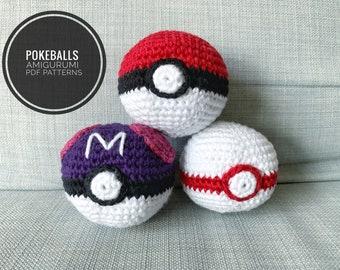 Patterns: Pokeball, Masterball, Premierball Amigurumi (Digital PDF)