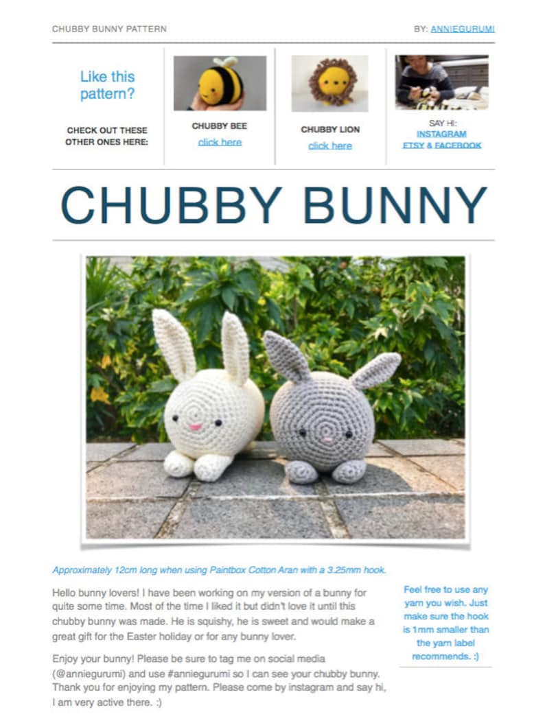 Pattern: Chubby Bunny Digital PDF File image 0