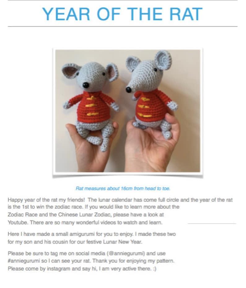 Pattern: Year of the Rat Amigurumi Digital PDF File image 0