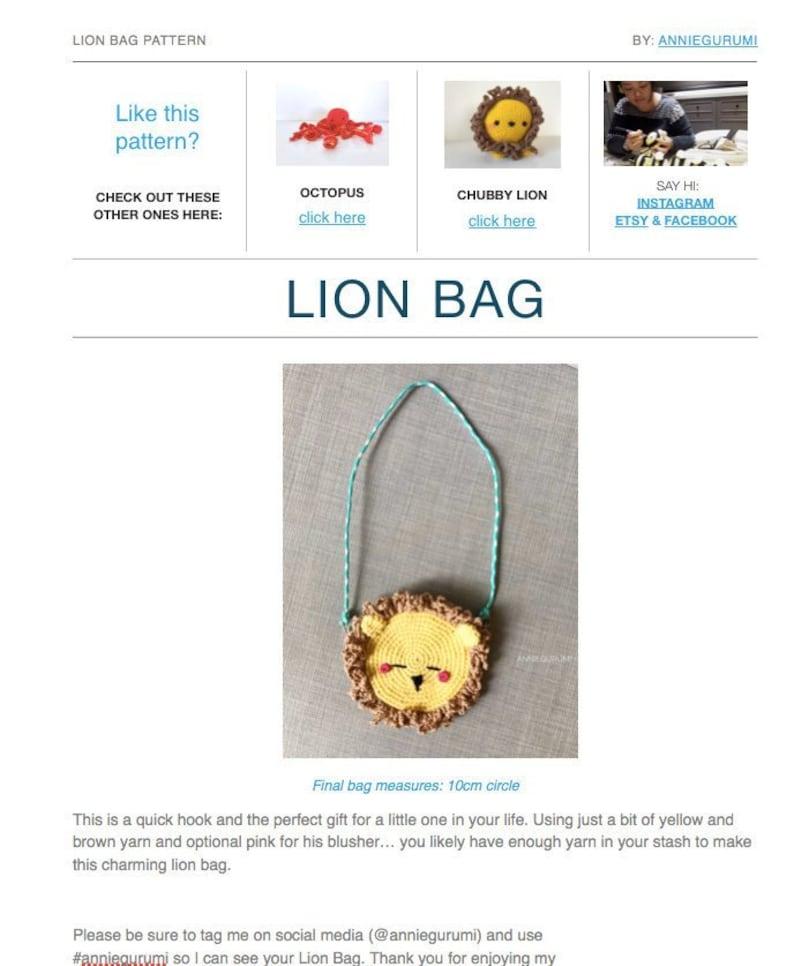 Pattern: Crochet Lion Bag Digital PDF File image 0