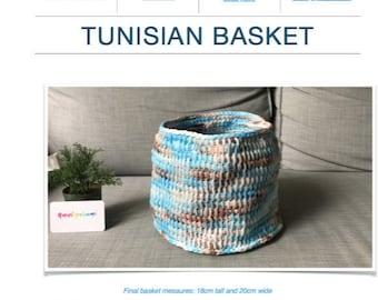 Pattern: Tunisian Crochet Basket (Digital PDF File)